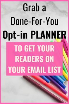 Grow your email list fast. Need a freebie to offer to your readers? Save time creating a perfect opt-in by grabbing a Done-For-You Opt-in Planner to get your readers on your email list. This is a complete package that includes, a report that you can turn into an email series, Opt-in Planner, Lead-Generating Page, 2 e-cover sets and 20 social media packs. Go grab it now. #emailmarketing #Optin #freebie #blogging #emaillist aff link Email Marketing Strategy, Internet Marketing, Affiliate Marketing, Make Money Blogging, How To Make Money, Blog Planner, Blogger Tips, Email List, Blogging For Beginners