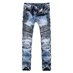 Rambling Hot Mens Ripped Slim Fit Motorcycle Vintage Style Denim Jeans Hip Hop Streetwear Pants