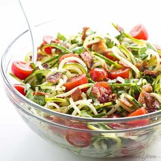 Zucchini Noodle Salad with Bacon & Tomatoes