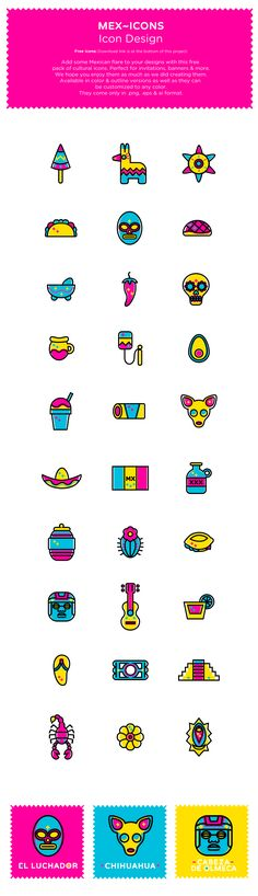 Add some Mexican flare to your designs with this free pack of cultural icons. Perfect for invitations, banners & more.We hope you enjoy them as much as we did creating them.Available in color & outline versions as well as they can be customized to a…