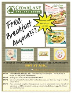 National Hot Breakfast Month Contest and your chance to win 30 free Cedarlane breakfasts!! #eggs #recipes #healthyfood #breakfast #glutenfree #veggies #contest