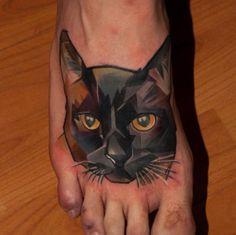 Black Geometric Cat Tattoo