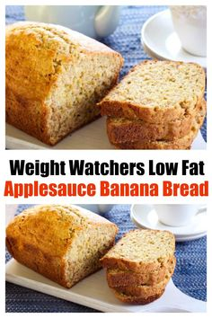 WW Recipes: Easy healthy Low-Fat Applesauce Banana Bread short cut recipe w/ minimal ingredients, stirs together quickly - 120 calories, 3 WW SmartPoints! Ww Banana Bread Recipe, Low Fat Banana Bread, Banana Bread With Applesauce, Weight Watcher Banana Bread, Chocolate Chip Banana Bread, Weight Watchers Bread Recipe, Weight Watchers Meal Plans, Weight Watchers Free, Weight Watcher Desserts