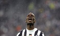 Juventus\' Pogba reacts during their Italian Serie A soccer match against Bologna at Juventus Stadium in Turin