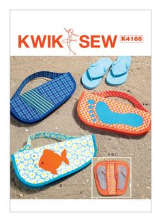 Appliqued Flip Flop Cases Kwik Sew Sewing Pattern 4166 from Sew Essential. Sewing Crafts, Sewing Projects, Kwik Sew Patterns, Dressmaking Fabric, Tote Pattern, Diy Gifts, Flip Flops, Applique, Creations