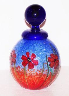 INCREDIBLE RARE FRANCO MORETTI MURANO ITALY ART GLASS FLOWER PERFUME BOTTLE