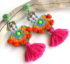 pendientes Bohemia, borla, regalo para mujeres, pendientes de declaración, pendientes boho, naranja pendientes, pendientes de color de rosa caliente, pendientes de flecos