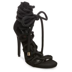Women's Wild Pair Missme Knotted Tie Front Gladiator Sandals - Black 9.5