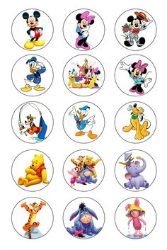 Winnie the Pooh - Mickey Mouse 1 inch Bottle Caps Images / Digital Collage Sheet Circle (Gbc-002). $1.50, via Etsy.