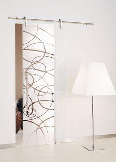 Aura Etched Glass Barn Doors | Frameless Glass Sliding Doors | Modernus