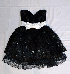 Black and White 80s Prom Dress by Hookedonhoney on Etsy