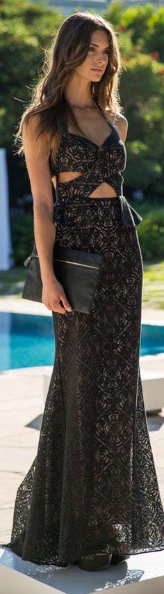 Long black dress #elegant