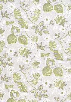 Go Green, Hazel Green, Anna French Wallpaper, Matching Wallpaper, Printing On Fabric, Beige, Quilts, Floral, Pattern