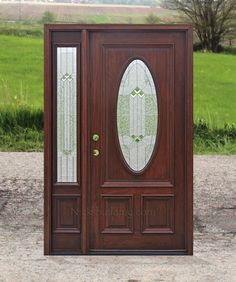 Exterior Entry Doors with 1 Sidelight - Solid Mahogany Entry Doors Exterior Entry Doors, Wood Entry Doors, Wooden Doors, Wooden Arch, Wooden Door Design, Front Gate Design, Door Design Interior, Israel, Country