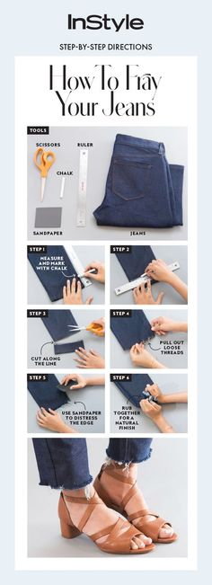 Up your hem game with these easy steps on how to fray the edges of your jeans from home.ideas diy fashion hacks link for this to the faded black DIY's to transform old jeansCan someone please comment, why do you need to use the chalk? Diy Jeans, Diy Ripped Jeans Tutorial, Diy Shorts, Diy Fashion Hacks, Fashion Tips, Women's Fashion, Diy Mode, Frayed Hem Jeans, Patchwork Jeans