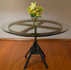 Upcycled Industrial Dining Table with Glass by StyleArchaeology, $1000.00