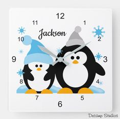 PENGUIN WALL CLOCK Clear Stickers, Kids Stickers, Baby Nursery Decor, Nursery Wall Art, Christmas Bird, Arctic Animals, Bee Theme, Handmade Home Decor, Winter Snow
