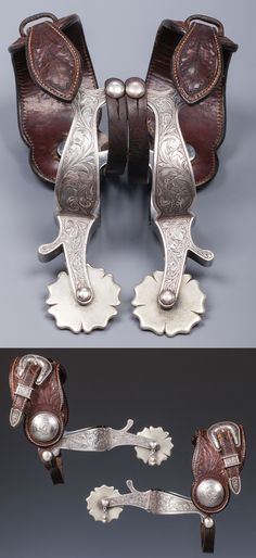 """Charlie Sample's Personal Parade Spurs  Renowned 1930s Hollywood silversmith, Charlie Sample's (1903-2003) personal pair of silver mounted parade spurs. The only known maker-marked pair of Charlie's spurs extant. Marked """"CHAS. / SAMPLE / MAKER"""" & """"Sterling"""" the spurs are in excellent condition and feature split """"Cheyenne"""" heel bands, clover leaf rowels and affixed floral carved straps with Mexican peso conchos. Buckle sets marked """"STERLING / CHAS. L. SAMPLE / L.A. CAL."""" Straps marked """"ED G…"""
