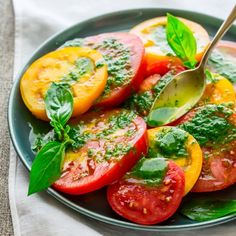 5-ingredient Tomato Salad with Thai Basil Dressing. It only takes 10 minutes to make this umami and gluten-free summer side-dish.