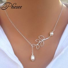 """Phesee 2pcs/Lot Hot Fashion Trend Necklaces Leaves Simulated Pearl Hoop """"1"""" Hand Chain Necklace Jewelry For Women Gifts E0316 -  http://mixre.com/phesee-2pcslot-hot-fashion-trend-necklaces-leaves-simulated-pearl-hoop-1-hand-chain-necklace-jewelry-for-women-gifts-e0316/  #Necklace"""