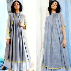 Beautiful Cotton kurti-jacket with modern silhouettes. Minimal Outfit, Minimal Fashion, Minimal Chic, Cotton Long Dress, Cotton Dresses, Modest Fashion, Fashion Dresses, Kurta Style, Fashion Silhouette