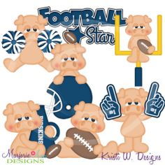 Pigskins Football SVG Cutting Files Includes Clipart
