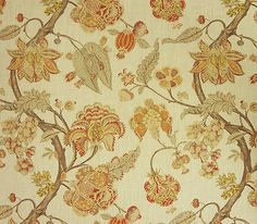 """Indienne -- color: October - 100% linen - 54"""" w - tree of life/Jacobean design - ecru fabric with floral print in shades or brown, gold, burnt orange & red - $50/yd"""