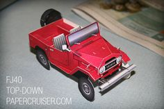 Toyota Land Cruiser FJ40 with top down, by papercruisers.com