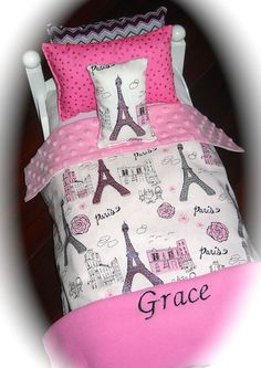 """18"""" Doll Bedding personalized Paris Glitter 2015 American Made for Girl doll Bed"""
