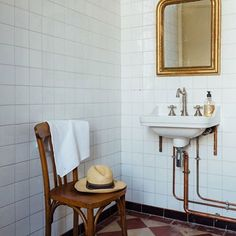 Bathroom. Interiors of the home of food writer Mimi Thorisson - which she shares with husband, 7 children and 9 dogs. Interior design inspiration from real homes on House & Garden.