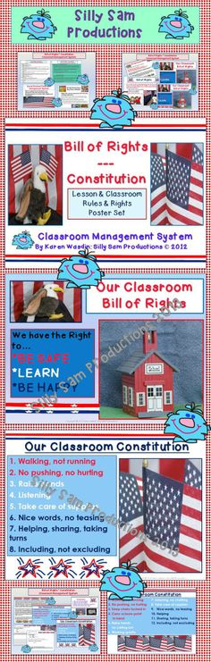 """$ Classroom RULES and RIGHTS lesson, posters and Classroom Management System. Included: *Classroom Posters *Group Experience Activity to introduce the """"Big Idea"""" of ORDER *Bill of Right Lesson and Brainstorm Activity *Constitution Lesson and Brainstorm Activity *PowerPoint Slides for class discussion and closure *Written Assessment and Discussion *Answer Key This is a wonderful way to teach students about the Bill of Rights and the Constitution of the United States of America."""
