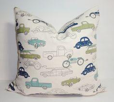 Marine Blau hell blau grüne Autos LKW jungen Kinderzimmer Kissen-Abdeckungen dekorative werfen Kissen aller Größen