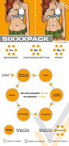 Sixxxpack Workout - Fitness trainingsplan - Hybrid Elektronike - New Ideas Fitness Workouts, Planet Fitness Workout, At Home Workouts, Fitness Motivation, Aerobic Fitness, Exercise Motivation, Yoga Fitness, Girl Train, Aerobics Workout
