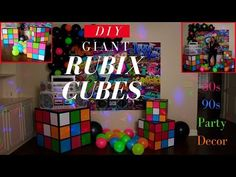 How about an or Party? In this video I show you how to make iant Rubix Cubes DIY for y. 90s Theme Party Decorations, Decoration Birthday, Dance Decorations, 80s Theme, Decoration Bedroom, Party Themes, Wall Decor, Kids Party Centerpieces, Office Decorations