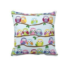 Cute Colorful Owl Branch Pattern Throw Pillows