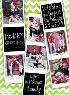 Cute Christmas card arrangement....loving the grey, black and red color scheme