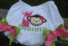 mod monkey diaper coverbirthday bloomer 1st by Paulajeanoriginals