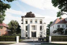A Luxurious Nordic Style Villa in Berlin Villa Design, Facade Design, Exterior Design, Neoclassical Architecture, Classic Architecture, House Architecture, Modern Tropical House, German Houses, Modern Floor Plans