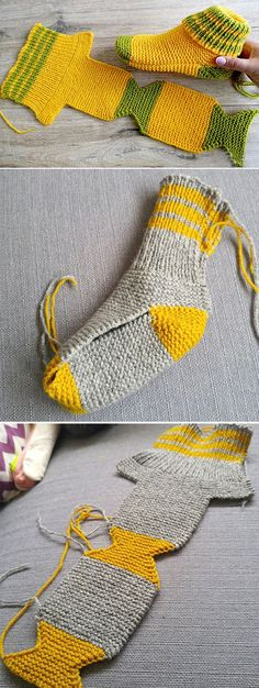 Fantastic Cost-Free knitting slippers from a square Ideas Free Knitting Pattern frei Hausschuhe Two Needle Socks – Free Knitting Pattern Knitting Blogs, Knitting Designs, Knitting Patterns Free, Knit Patterns, Free Knitting, Knitting Projects, Knitting Socks, Knitting Ideas, Crochet Slipper Pattern