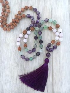 Thousand Petals Fluorite Amethyst & Rose Quartz 108 bead Tassel Jewelry, Bohemian Jewelry, Beaded Jewelry, Gemstone Necklace, Beaded Necklace, Beaded Bracelets, Unique Necklaces, Unique Jewelry, Beaded Bags