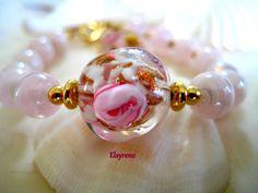 Princess-Pink Venetian floral Lampwork Bracelet on 14k by elsyrene
