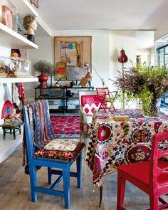 Home Tour | Artist Isabelle De Borchgrave Bohemian Dining Rooms, Bohemian  House, Bohemian Beach