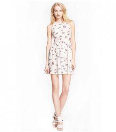 Joie Bernadine D Silk Fit & Flare Dress // White dress with floral print