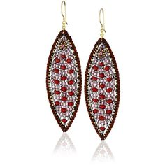 Miguel Ases Rubellite Quartz and Swarovski Marquis Drop Earrings ❤ liked on Polyvore featuring jewelry, earrings, handcrafted jewelry, long drop earrings, pink tourmaline jewelry, hand crafted jewelry and miguel ases