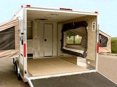 Image detail for -Quicksilver VRV Cargo Camping Trailer Enclosed Trailer Camper Conversion, Utility Trailer Camper, Toy Hauler Camper, Enclosed Cargo Trailers, Kombi Motorhome, Cargo Trailer Conversion, Trailer Storage, Truck Camper, Camper Trailers
