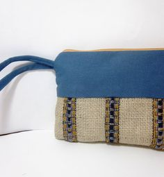 Blue and Tan Wristlet   Burlap and Canvas by handjstarcreations.