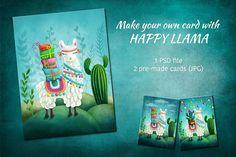 Happy Llama by ESchweitzerDesign on @creativemarket
