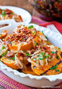 Grilled Sweet Potato Salad with Sweet and Sour Bacon Dressing - A Family Feast
