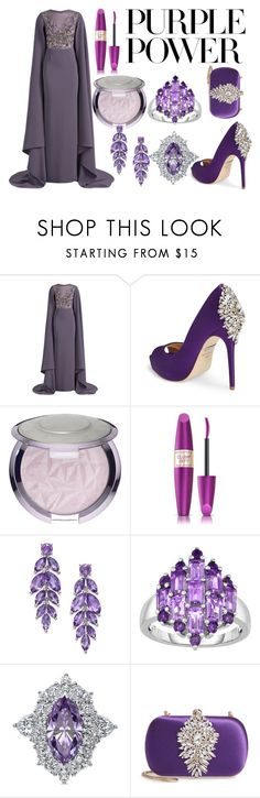 """Royal Purple"" by taladra on Polyvore featuring Georges Hobeika, Badgley Mischka, Sephora Collection, Max Factor, BERRICLE, purplepower, internationalwomensday and pressforprogress"
