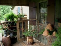 LOVE the wine barrel for a plant holder!! Need to find one of these :)